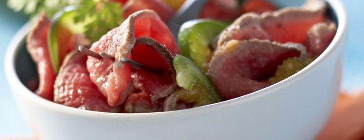 Salade de bœuf aux poivrons confits